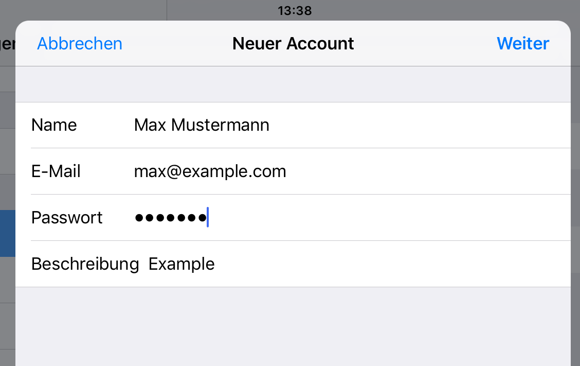 iOS Account Einstellungen